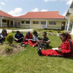 BSK students reading outside on a weekend